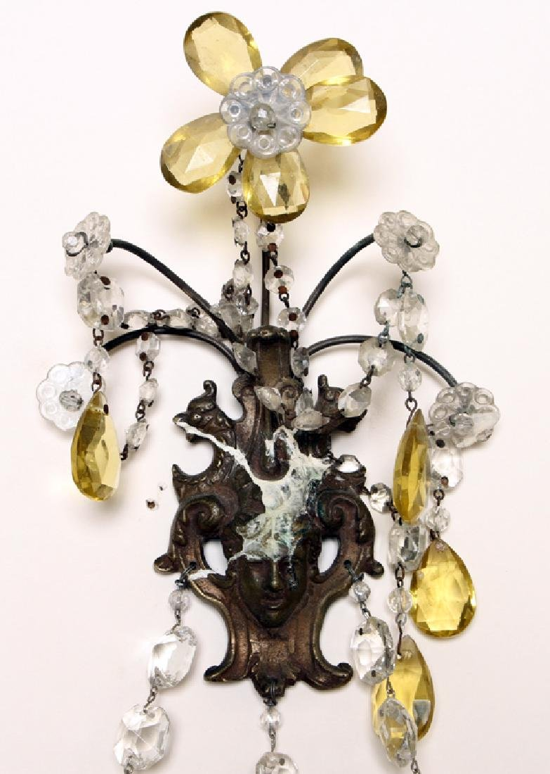 PAIR REGENCY STYLE BRASS CRYSTAL WALL SCONCES - 3