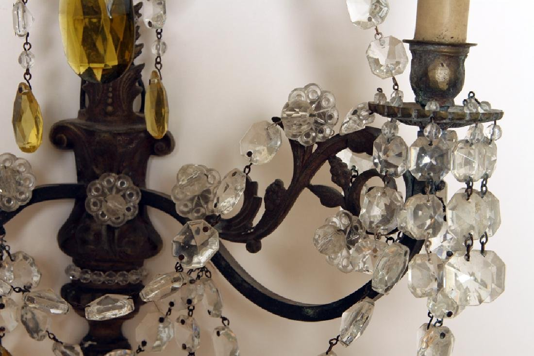 PAIR REGENCY STYLE BRASS CRYSTAL WALL SCONCES - 5