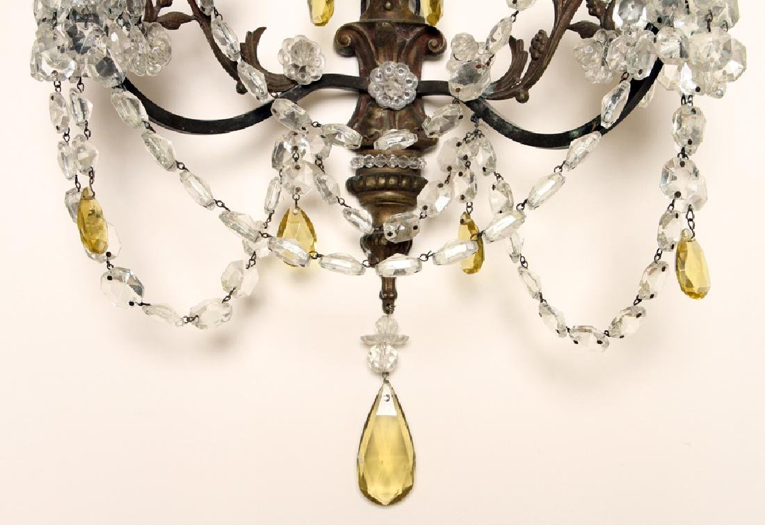 PAIR REGENCY STYLE BRASS CRYSTAL WALL SCONCES - 6