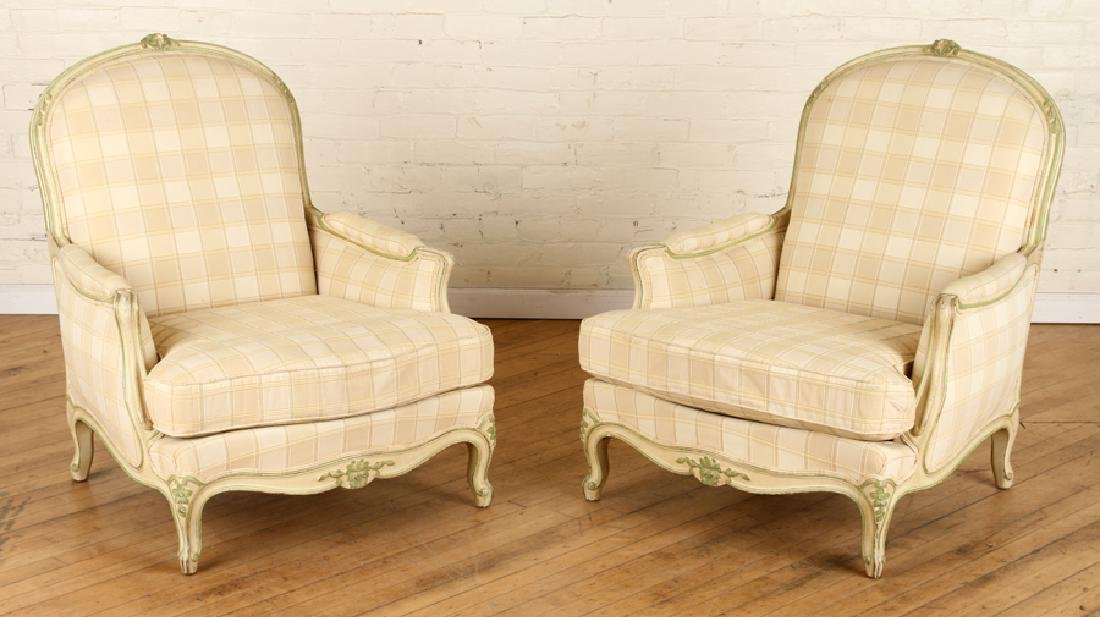 PAIR FRENCH LOUIS XV STYLE BERGERE CHAIRS C.1940