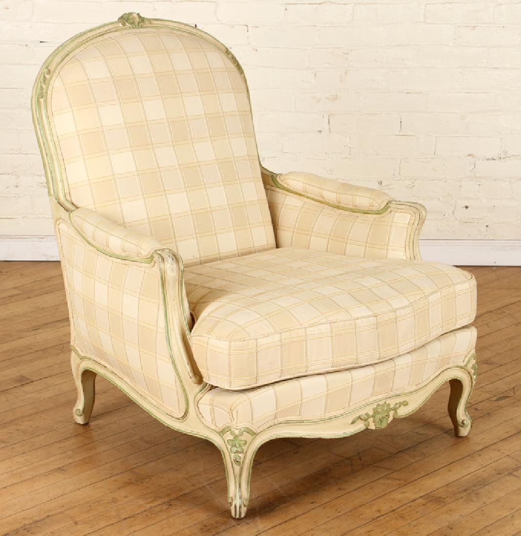 PAIR FRENCH LOUIS XV STYLE BERGERE CHAIRS C.1940 - 2