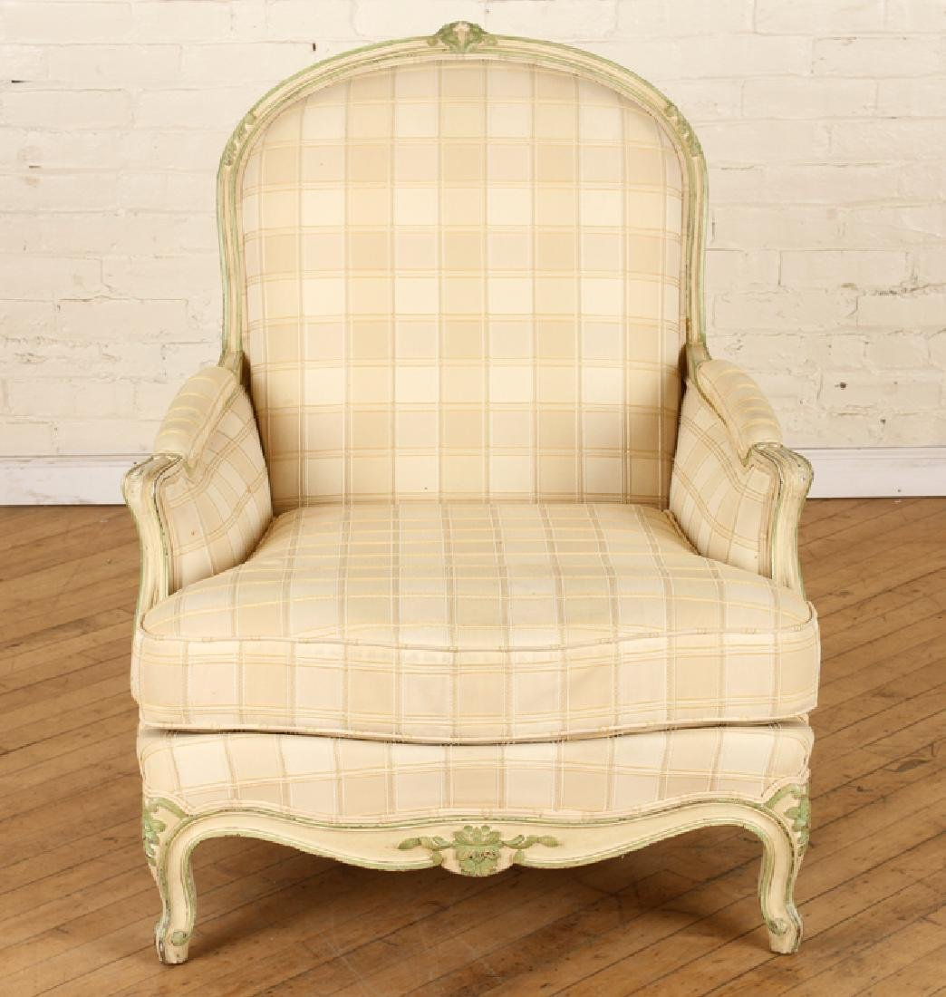 PAIR FRENCH LOUIS XV STYLE BERGERE CHAIRS C.1940 - 3