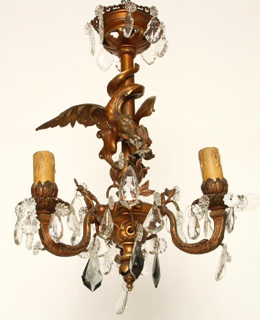BRONZE CRYSTAL WINGED GRIFFIN CHANDELIER C.1910
