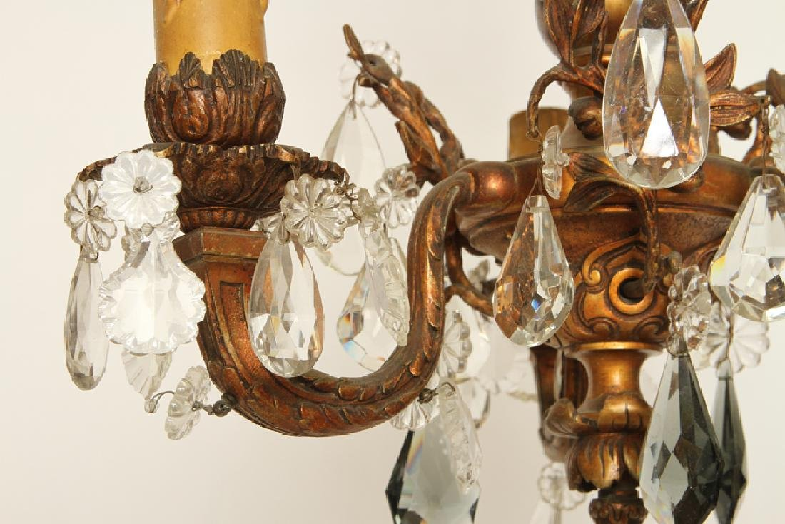 BRONZE CRYSTAL WINGED GRIFFIN CHANDELIER C.1910 - 5