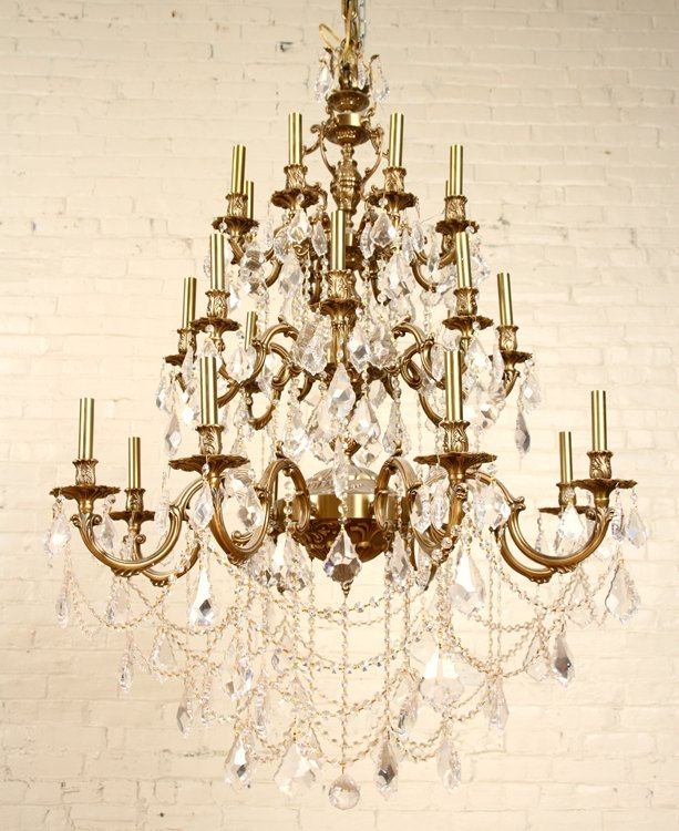 FRENCH STYLE 24 ARM BRONZE CRYSTAL CHANDELIER