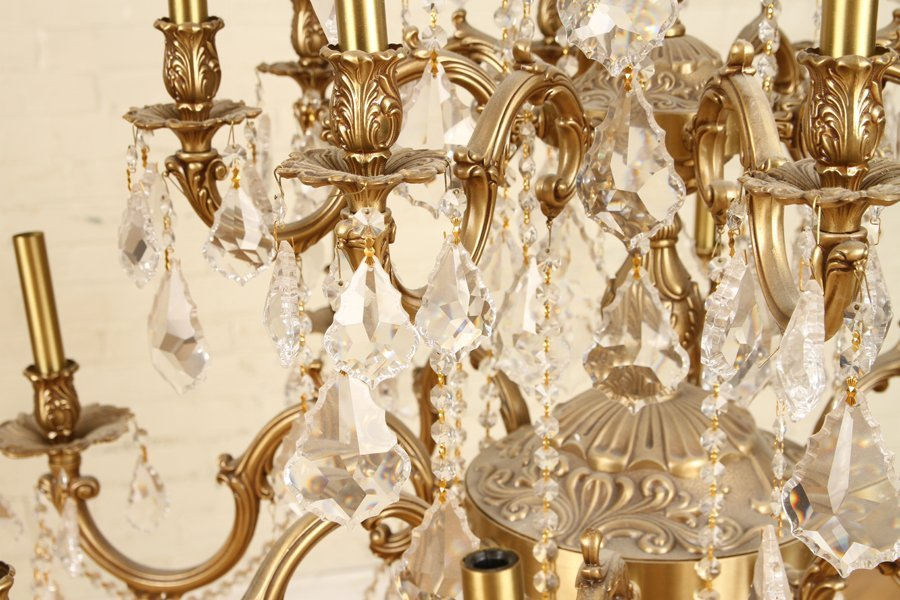 FRENCH STYLE 24 ARM BRONZE CRYSTAL CHANDELIER - 4