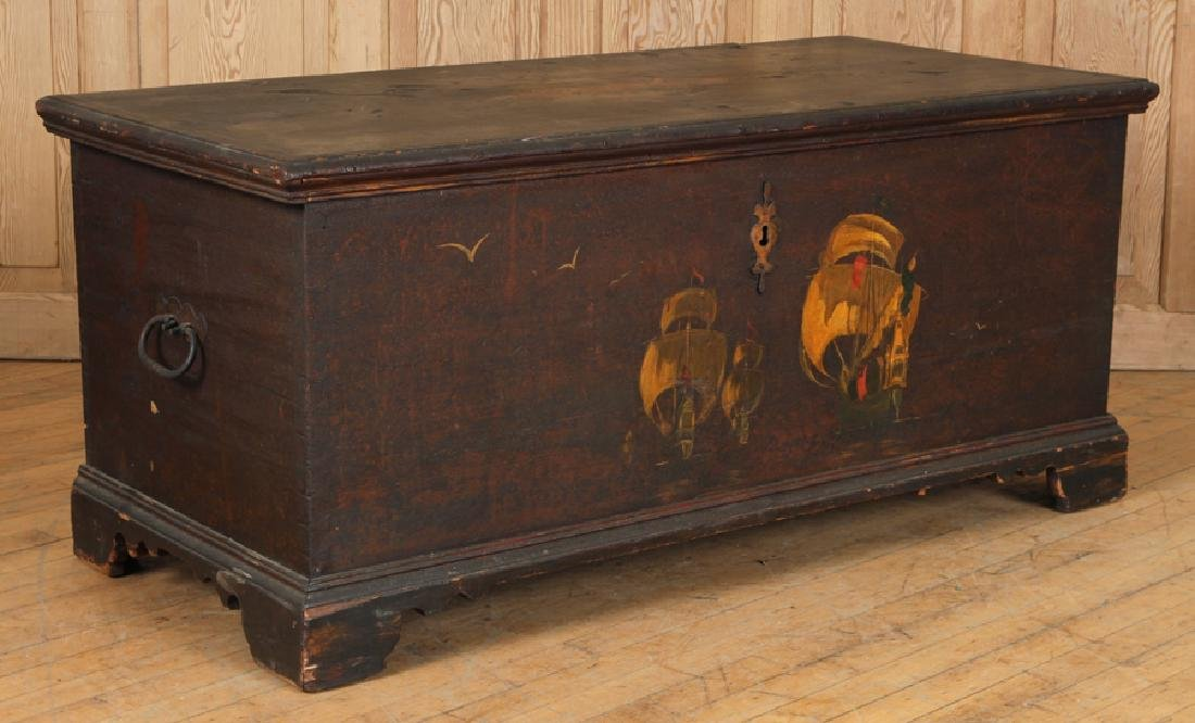 18TH C. PAINTED CONTINENTAL BLANKET CHEST