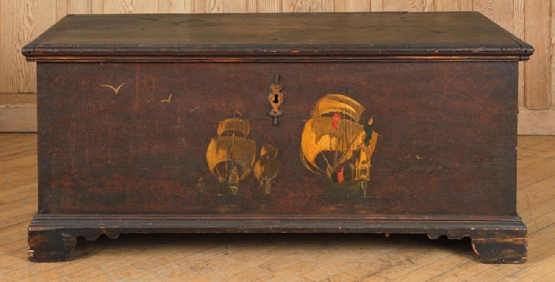 18TH C. PAINTED CONTINENTAL BLANKET CHEST - 2
