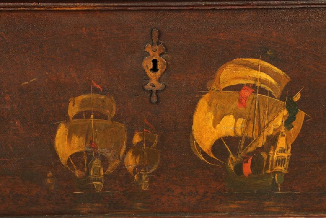 18TH C. PAINTED CONTINENTAL BLANKET CHEST - 4