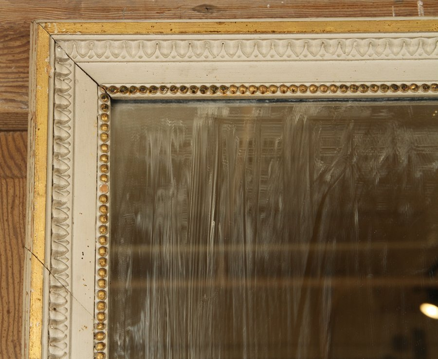 19TH C. FRENCH GILT WOOD PAINTED TRUMEAU MIRROR - 2