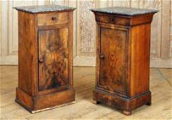 PAIR LATE 19TH C. FRENCH MARBLE TOP NIGHT STANDS