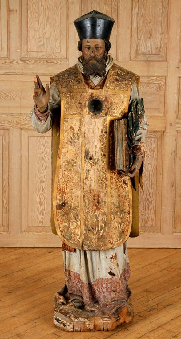 19TH CENT. CARVED WOOD RELIGIOUS FIGURE