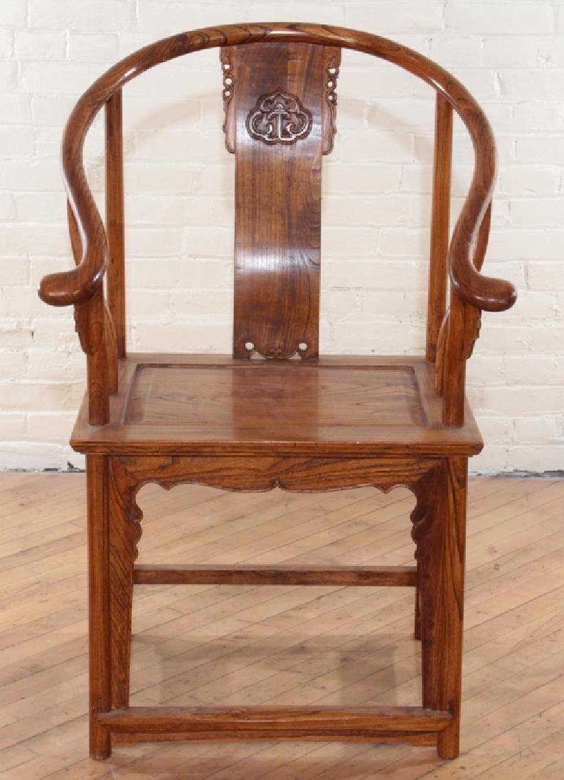 PAIR CHINESE ELM HUANGHUALI STYLE OPEN ARM CHAIRS - 3
