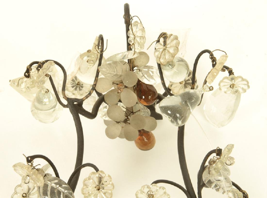 PAIR FRENCH IRON CRYSTAL WALL SCONCES C.1930 - 3