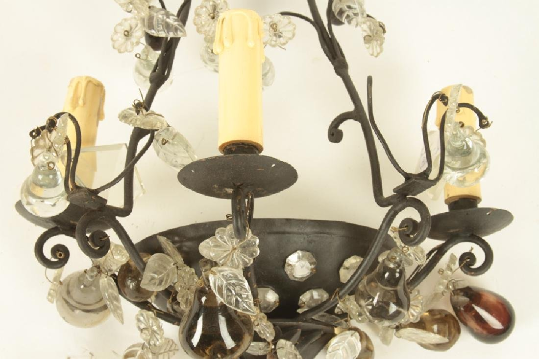 PAIR FRENCH IRON CRYSTAL WALL SCONCES C.1930 - 4