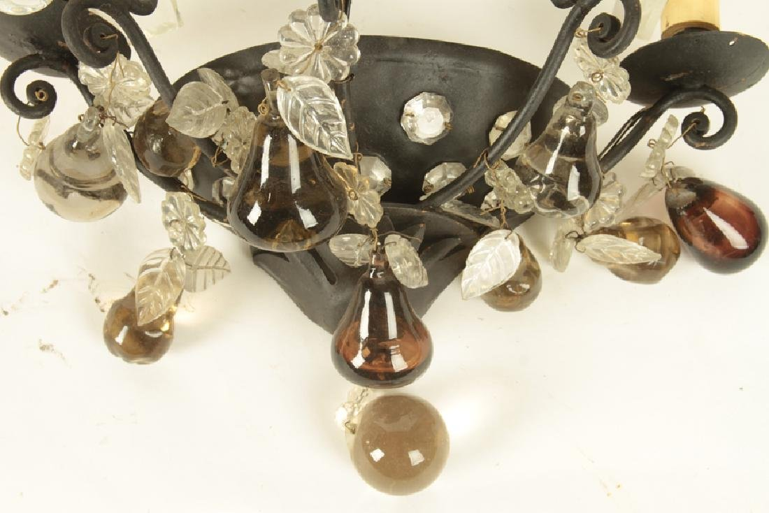 PAIR FRENCH IRON CRYSTAL WALL SCONCES C.1930 - 5
