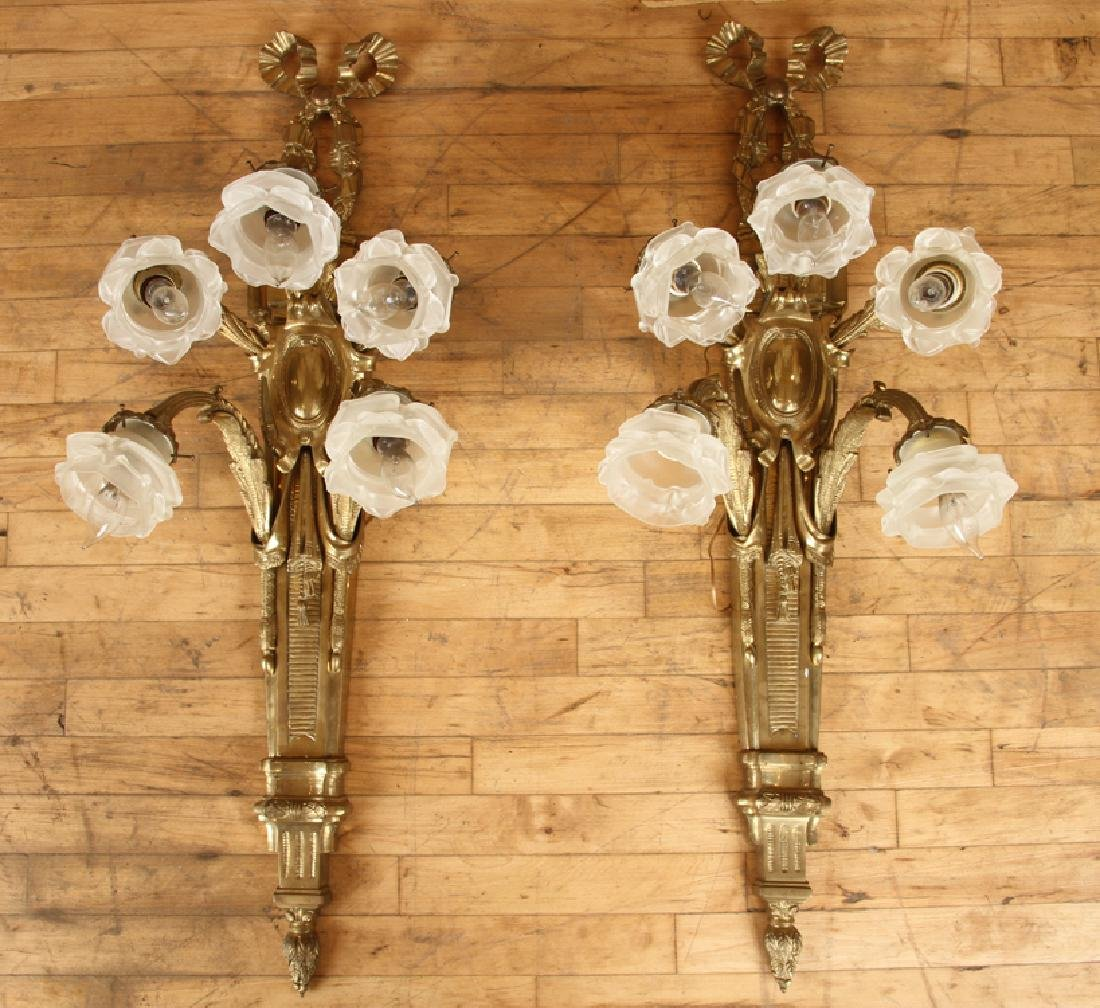 PAIR CAST BRONZE 5 ARM FRENCH STYLE WALL SCONCES
