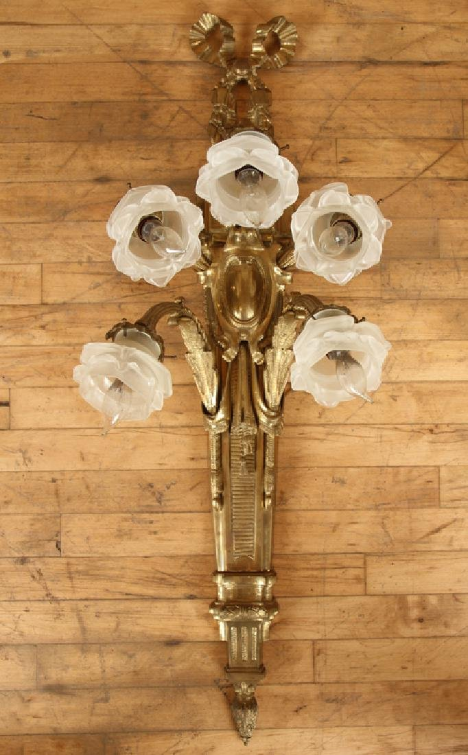 PAIR CAST BRONZE 5 ARM FRENCH STYLE WALL SCONCES - 2