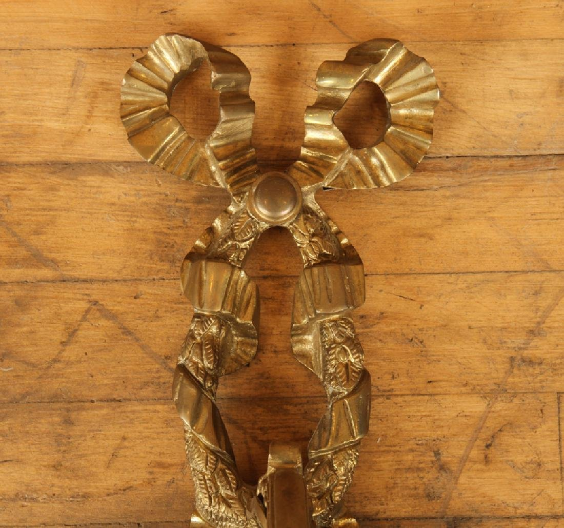 PAIR CAST BRONZE 5 ARM FRENCH STYLE WALL SCONCES - 3