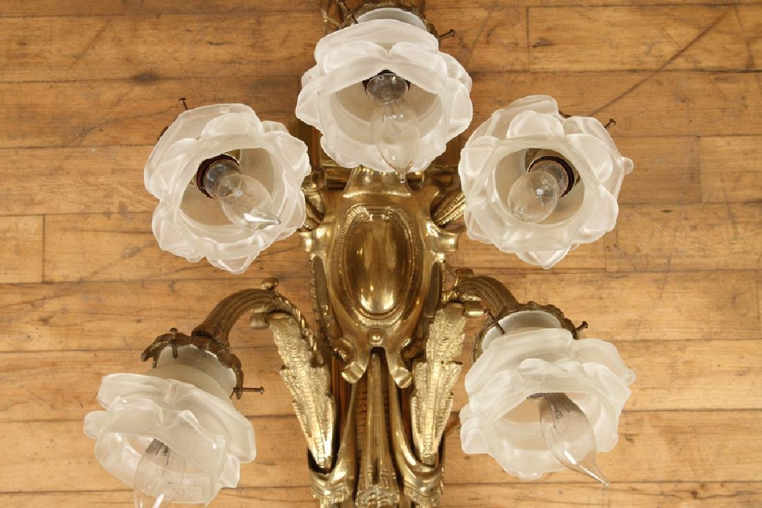 PAIR CAST BRONZE 5 ARM FRENCH STYLE WALL SCONCES - 4