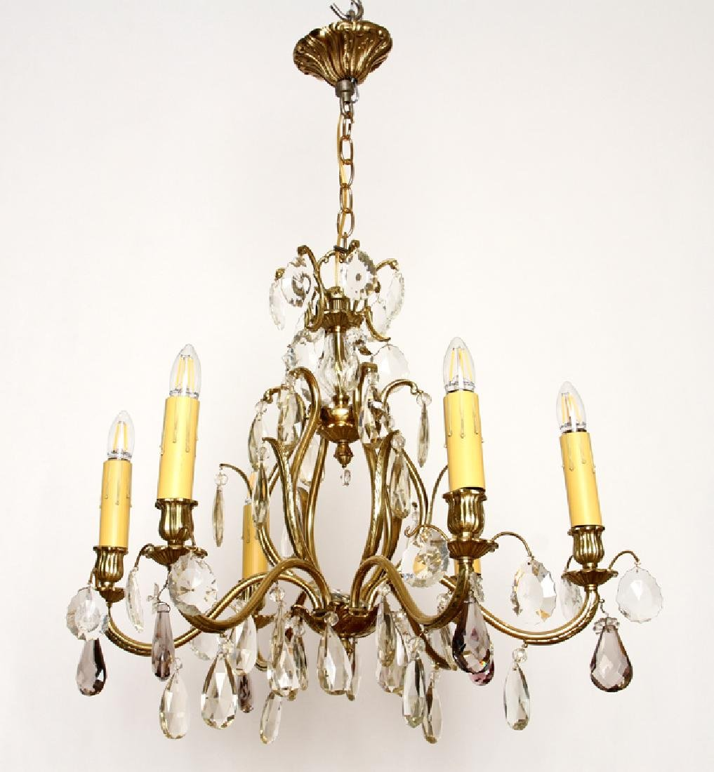 BRASS AND CRYSTAL SIX ARM CHANDELIER