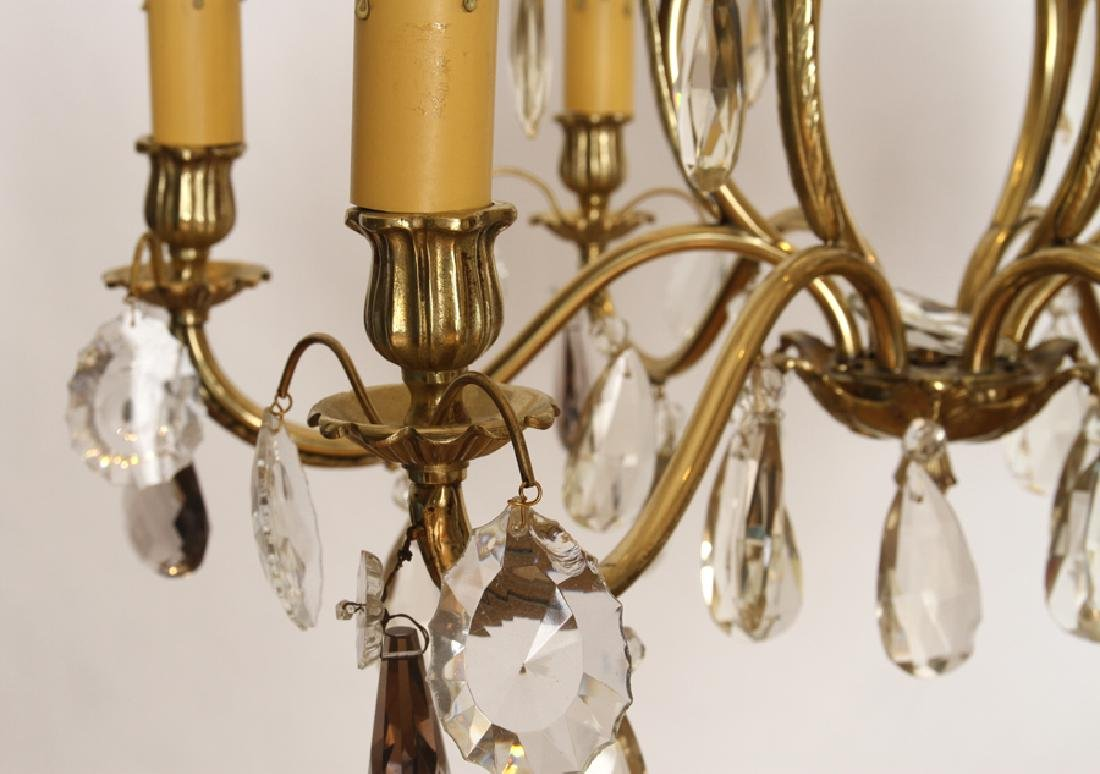 BRASS AND CRYSTAL SIX ARM CHANDELIER - 4
