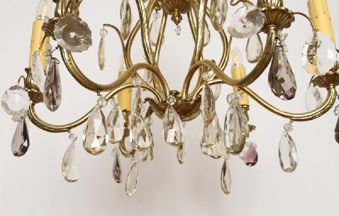 BRASS AND CRYSTAL SIX ARM CHANDELIER - 5