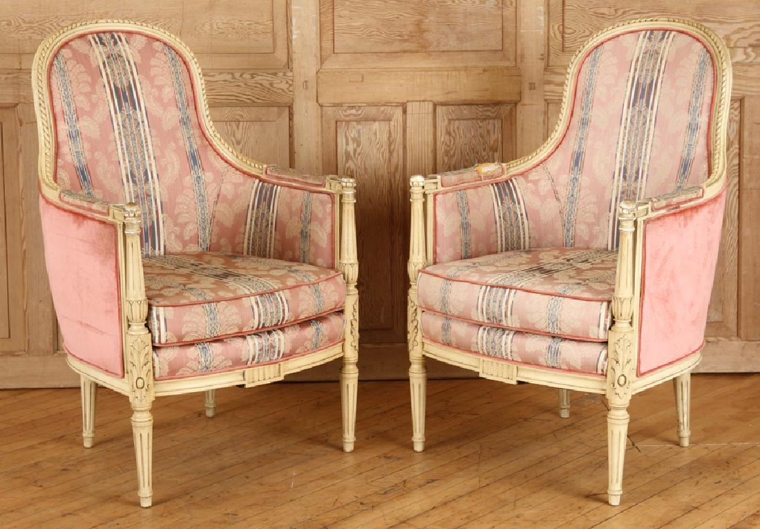 PAIR CARVED LOUIS XVI STYLE BERGERE CHAIRS