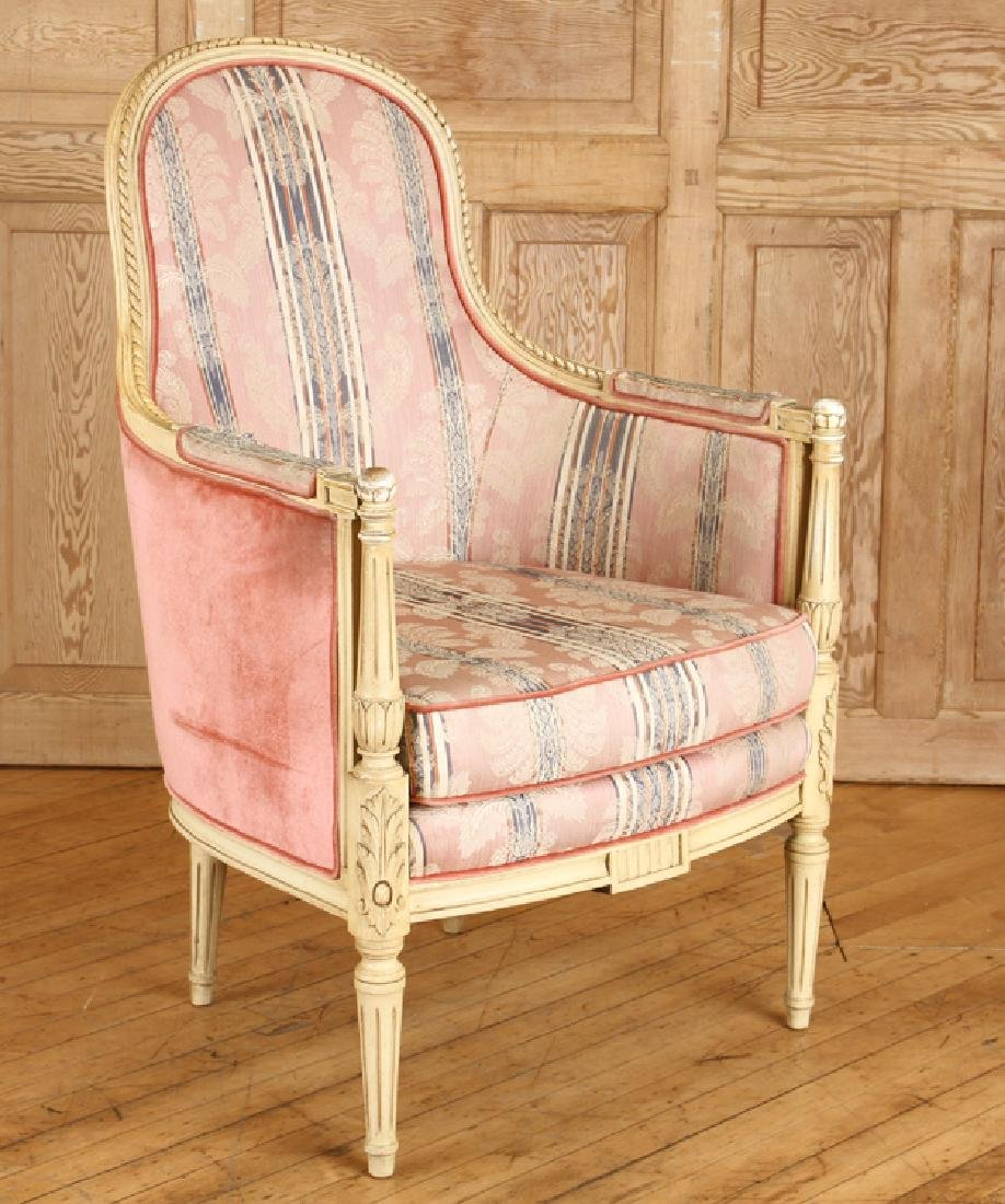 PAIR CARVED LOUIS XVI STYLE BERGERE CHAIRS - 2