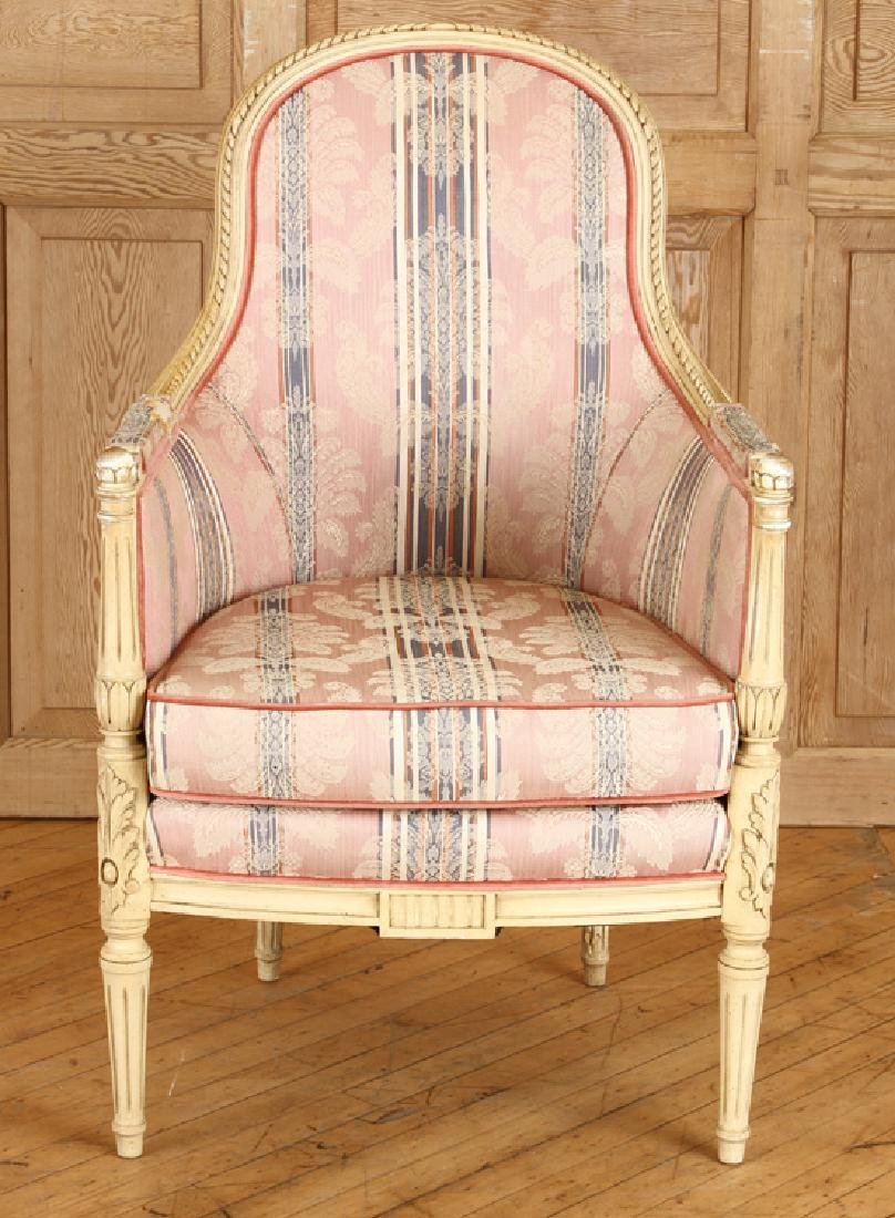 PAIR CARVED LOUIS XVI STYLE BERGERE CHAIRS - 3