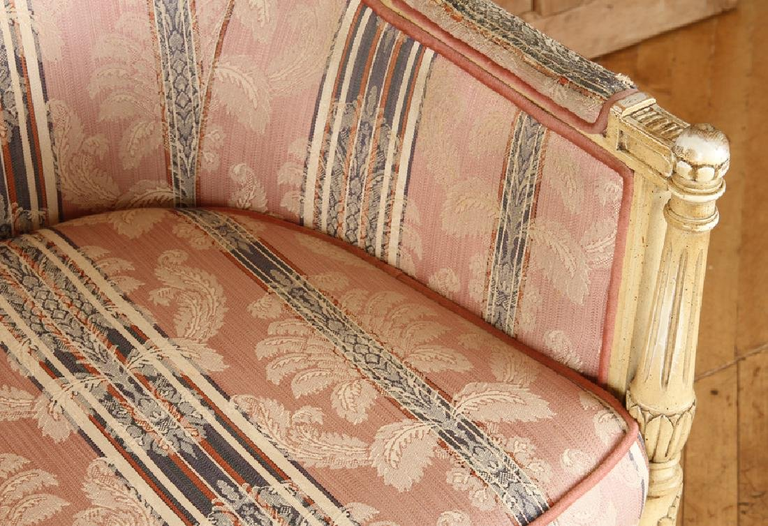 PAIR CARVED LOUIS XVI STYLE BERGERE CHAIRS - 4