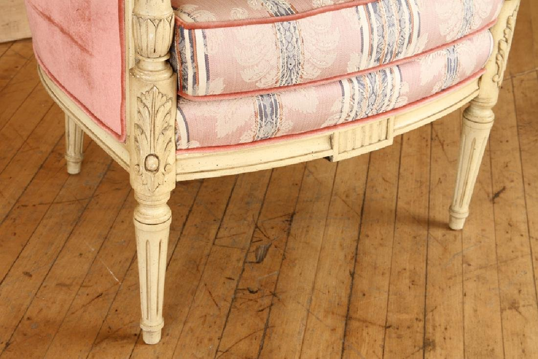 PAIR CARVED LOUIS XVI STYLE BERGERE CHAIRS - 5
