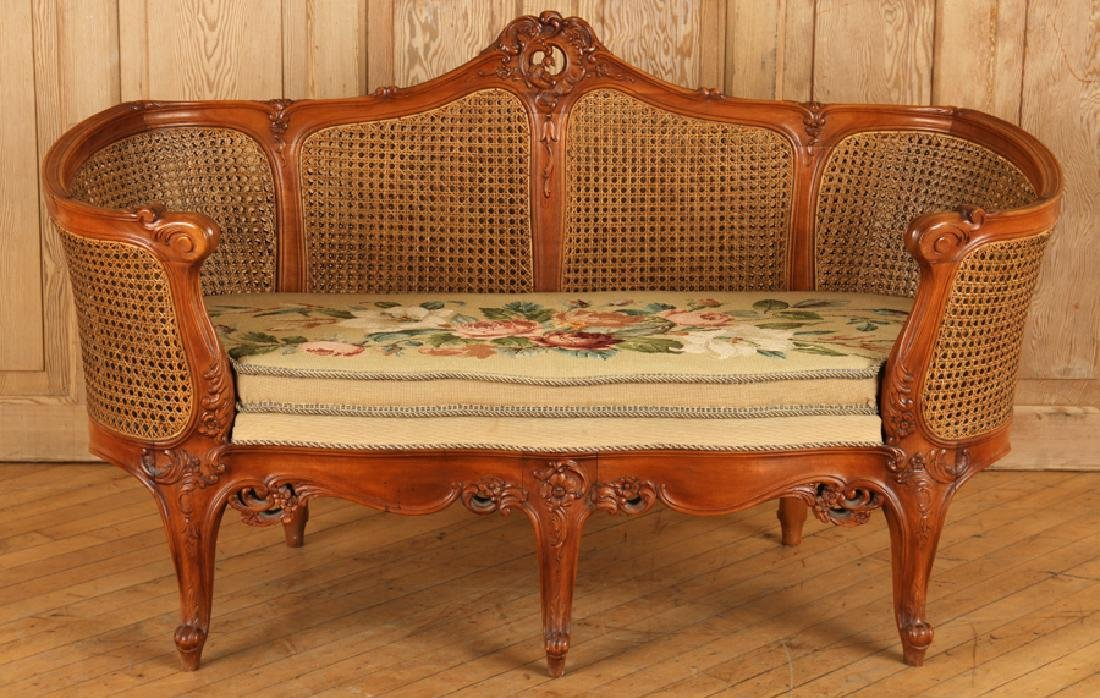 CARVED WOOD CANED SETTEE FLORAL EMBROIDERED SEAT