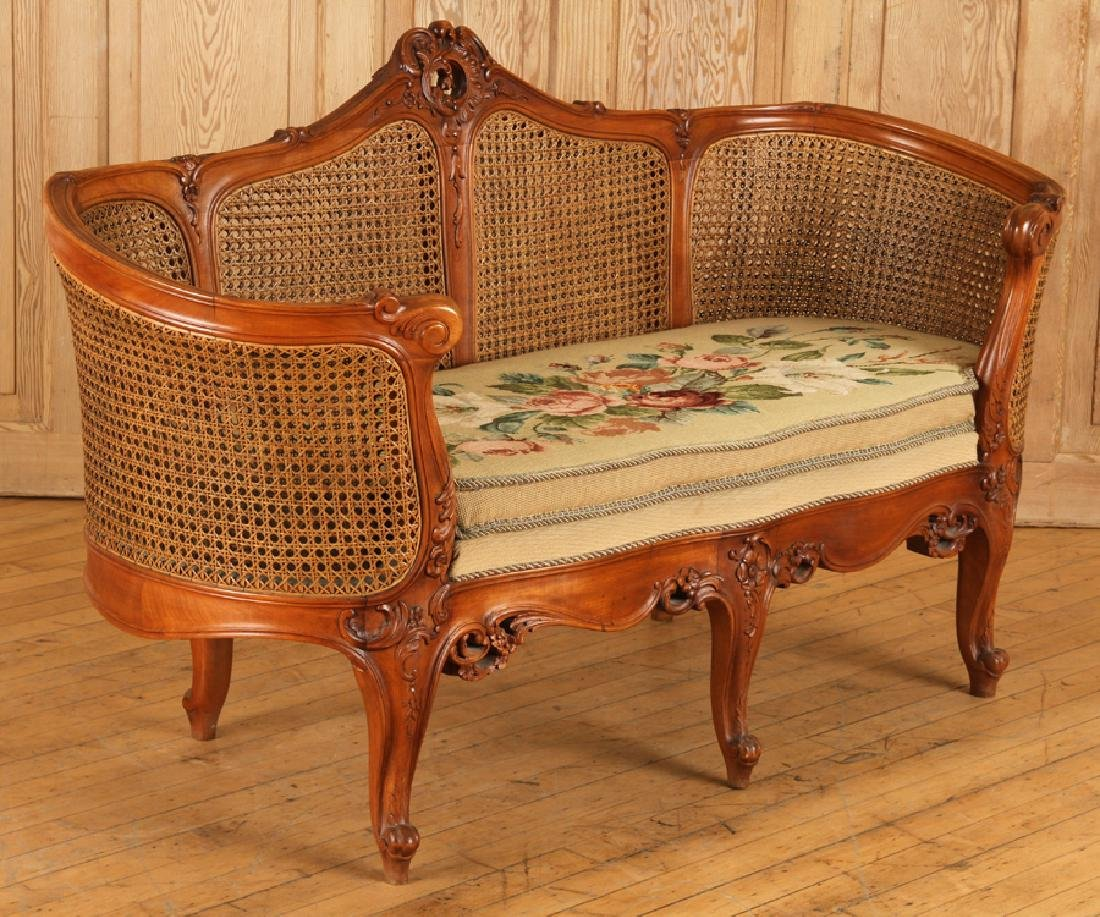 CARVED WOOD CANED SETTEE FLORAL EMBROIDERED SEAT - 2