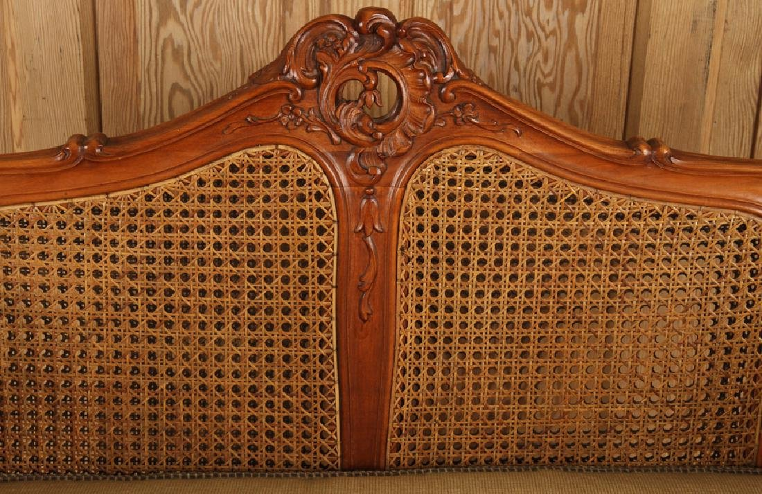 CARVED WOOD CANED SETTEE FLORAL EMBROIDERED SEAT - 3
