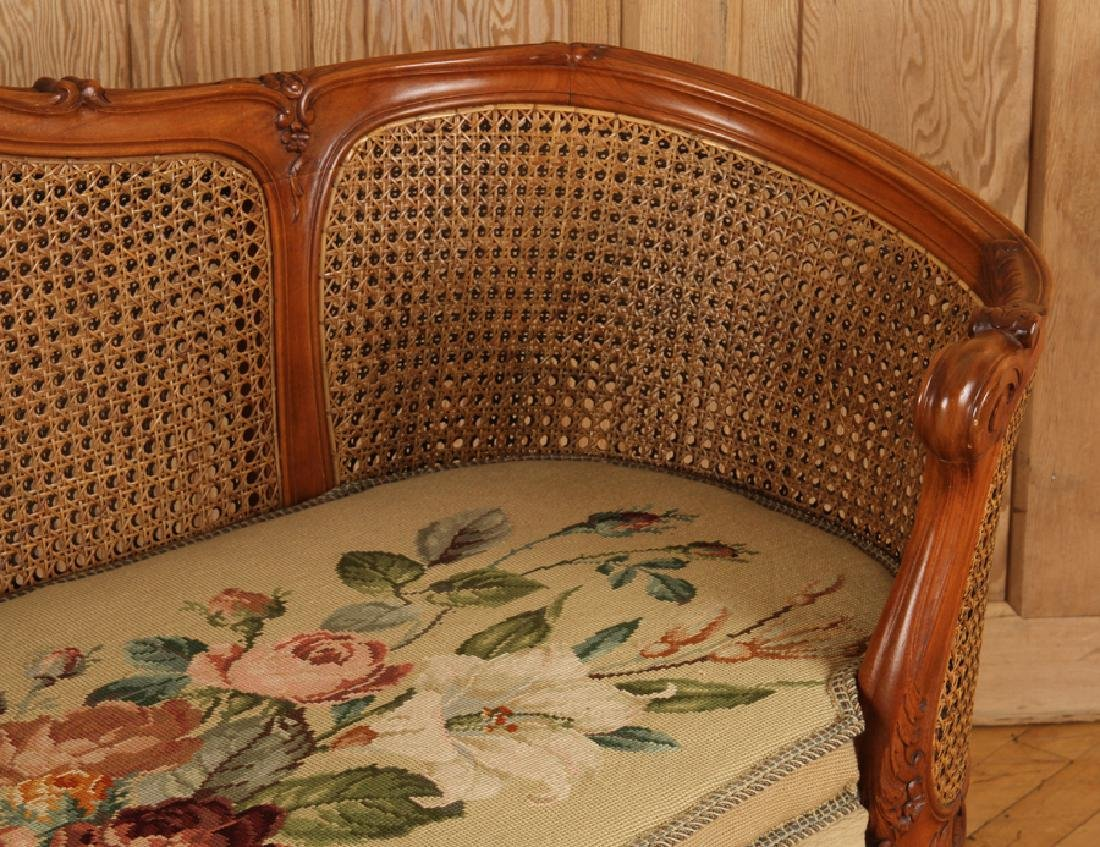 CARVED WOOD CANED SETTEE FLORAL EMBROIDERED SEAT - 4