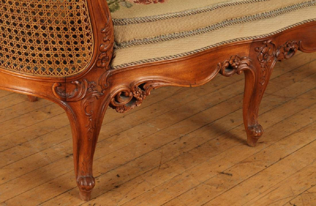 CARVED WOOD CANED SETTEE FLORAL EMBROIDERED SEAT - 5