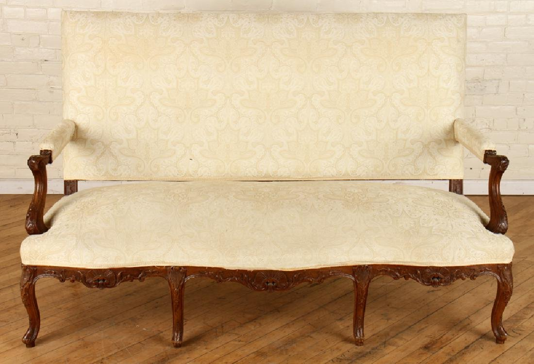 LOUIS XV STYLE CARVED WALNUT UPHOLSTERED SOFA