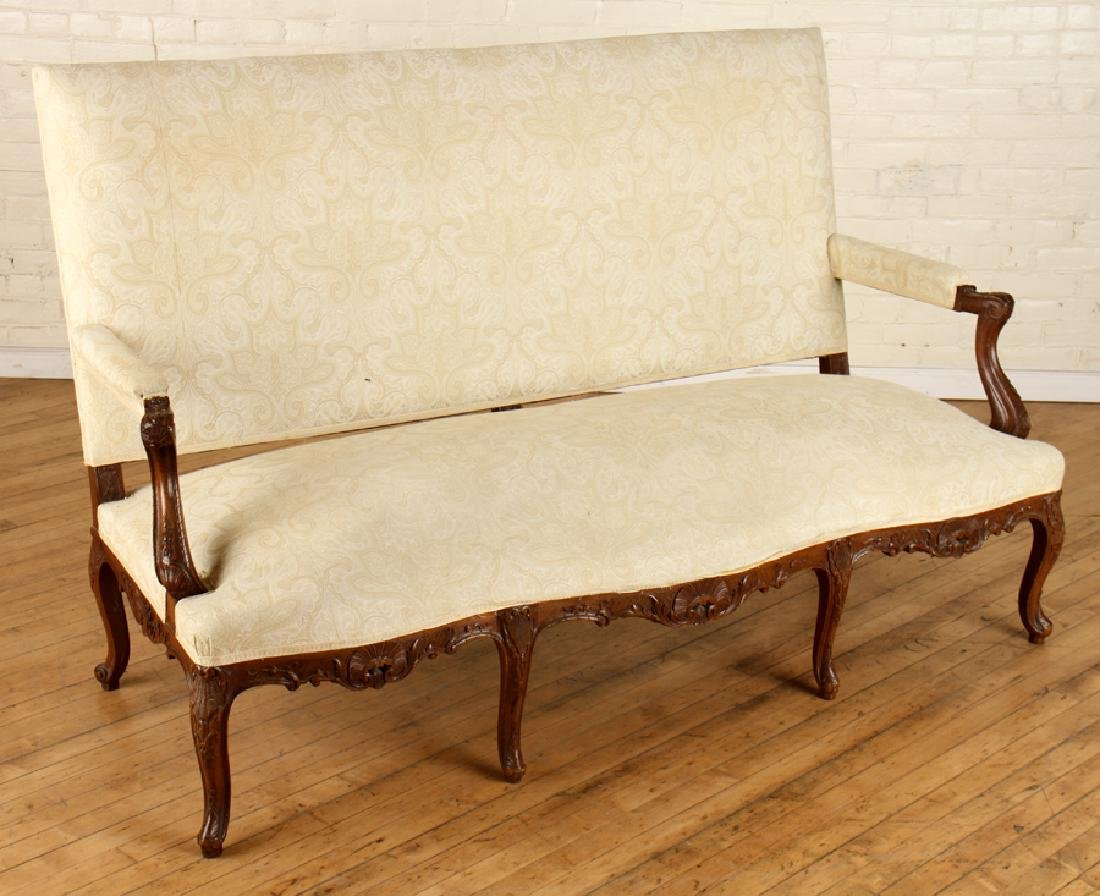 LOUIS XV STYLE CARVED WALNUT UPHOLSTERED SOFA - 2