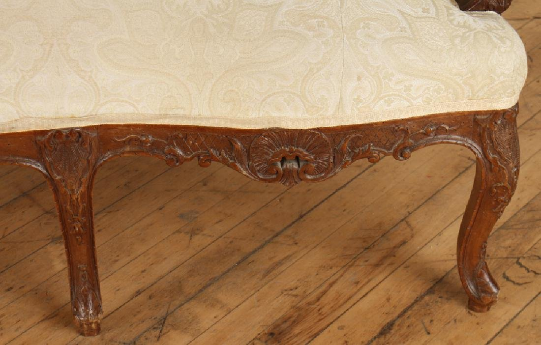 LOUIS XV STYLE CARVED WALNUT UPHOLSTERED SOFA - 4