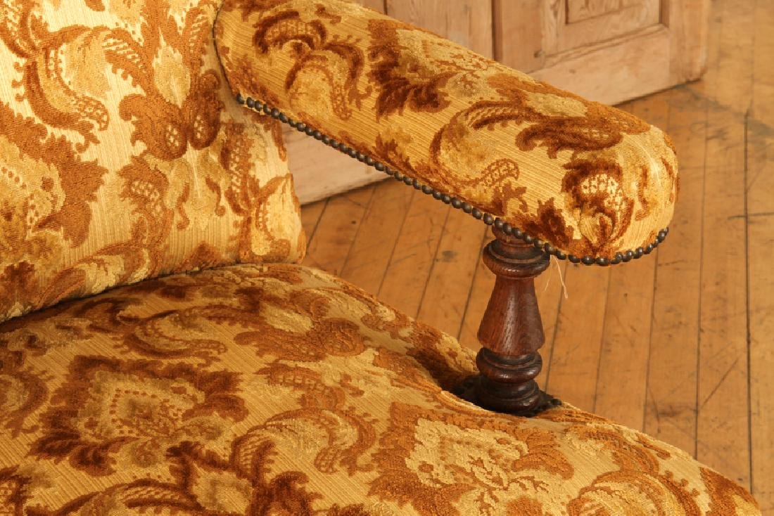 PAIR UPHOLSTERED NAPOLEON III STYLE ARM CHAIRS - 4
