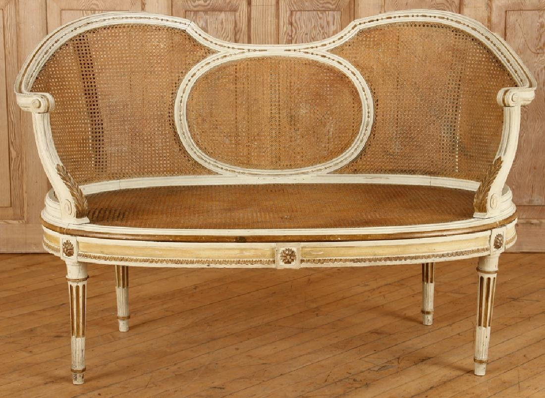PAINTED FRENCH LOUIS XVI STYLE SETTEE C.1900