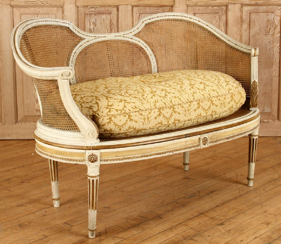 PAINTED FRENCH LOUIS XVI STYLE SETTEE C.1900 - 2