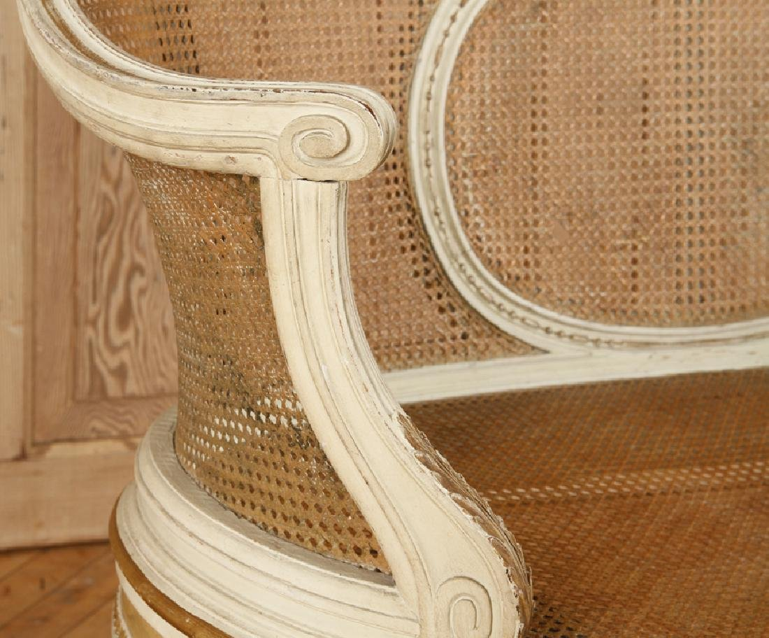 PAINTED FRENCH LOUIS XVI STYLE SETTEE C.1900 - 5
