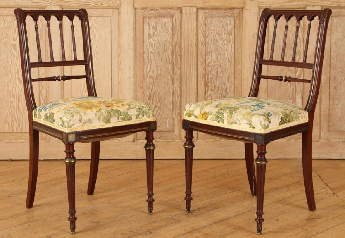 PAIR FRENCH BRONZE MOUNTED MAHOGANY SIDE CHAIRS
