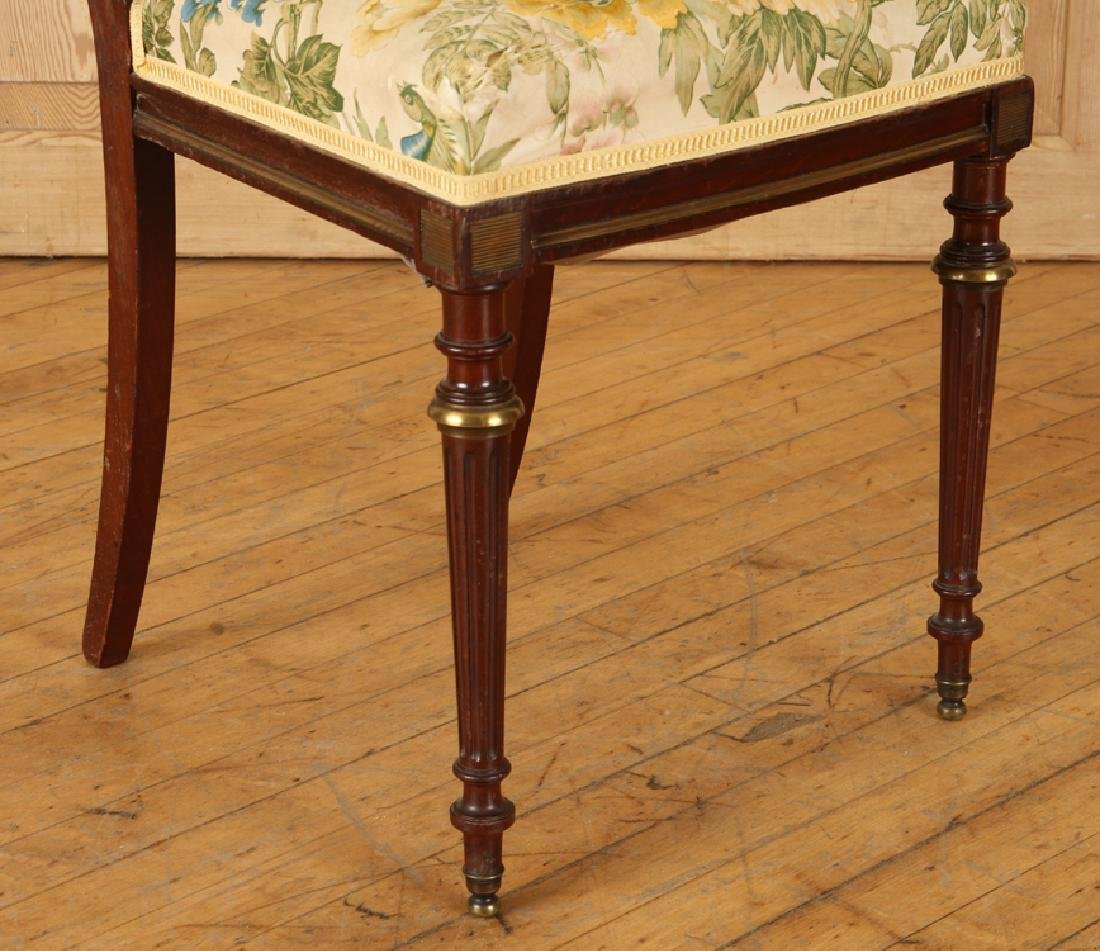 PAIR FRENCH BRONZE MOUNTED MAHOGANY SIDE CHAIRS - 5