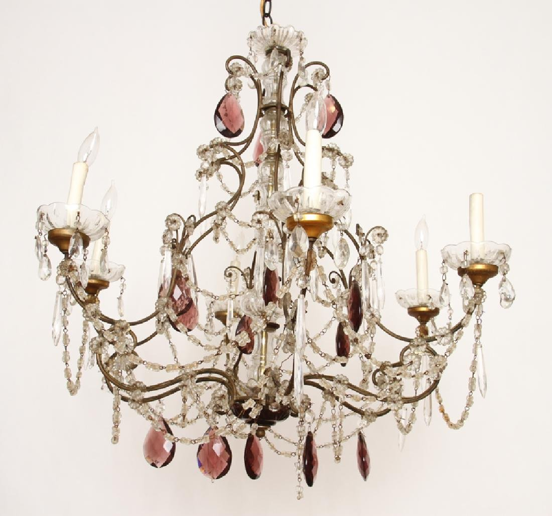 FRENCH WROUGHT IRON AND GLASS SIX ARM CHANDELIER
