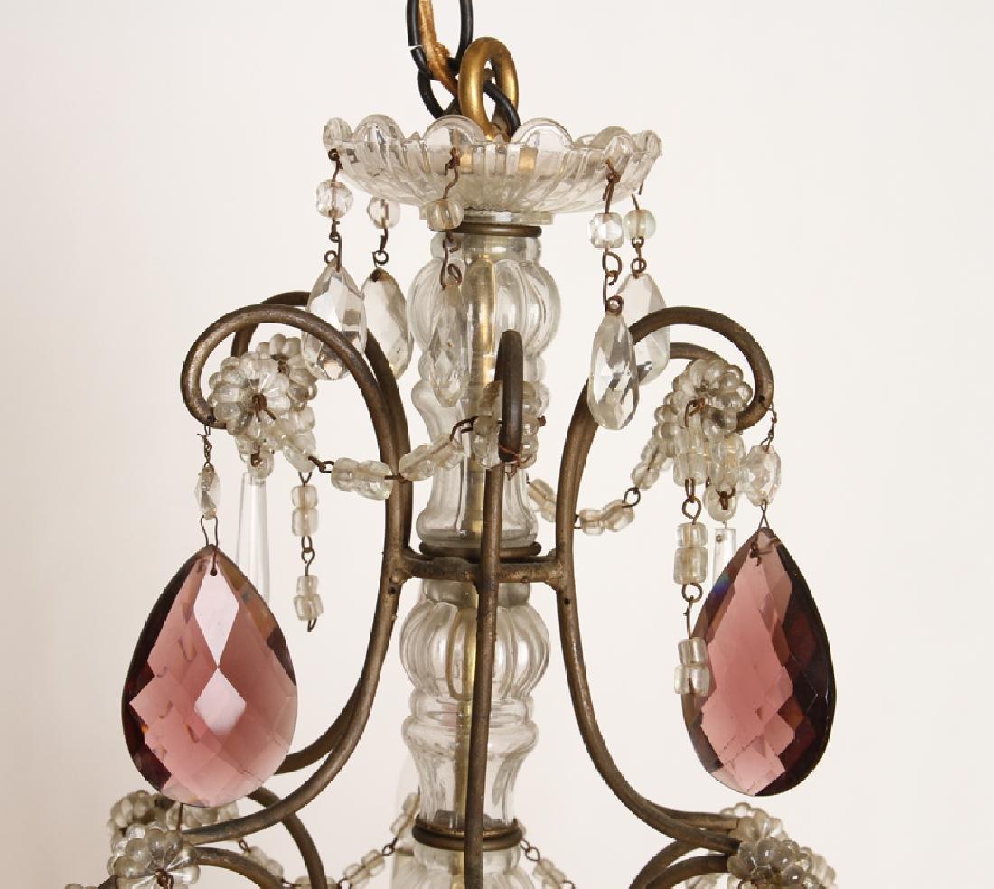 FRENCH WROUGHT IRON AND GLASS SIX ARM CHANDELIER - 2