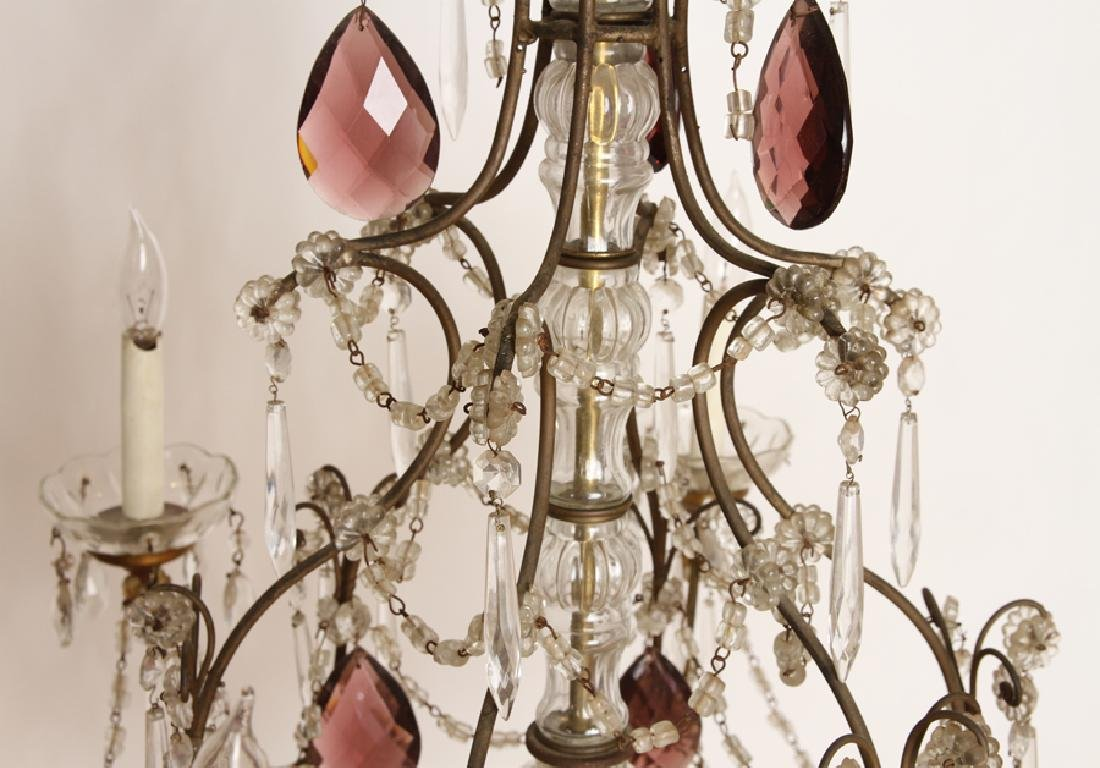 FRENCH WROUGHT IRON AND GLASS SIX ARM CHANDELIER - 3
