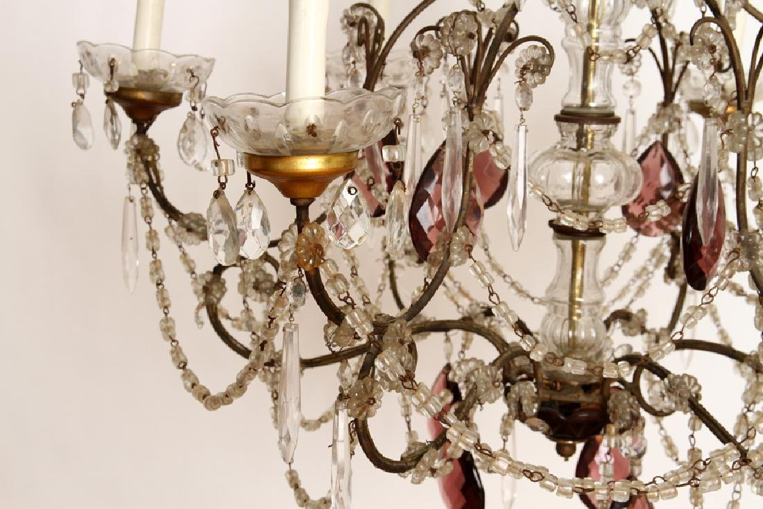 FRENCH WROUGHT IRON AND GLASS SIX ARM CHANDELIER - 4
